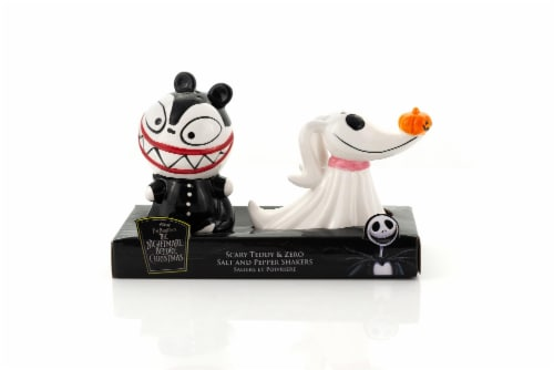 Nightmare Before Christmas Scary Teddy & Zero Ceramic Salt & Pepper Shakers Perspective: front