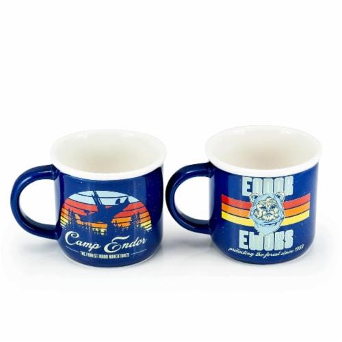 Star Wars Camp Endor Retro Mugs | Ewok Forest Camp of Endor Cups | Set of 2 Mugs Perspective: front