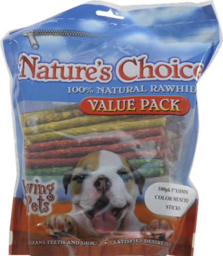 Loving Pets Nature's Choice Assorted 100% Natural Rawhide Sticks Value Pack Perspective: front