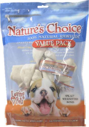 Nature's Choice Natural Rawhide Knot Bones Value Pack Perspective: front