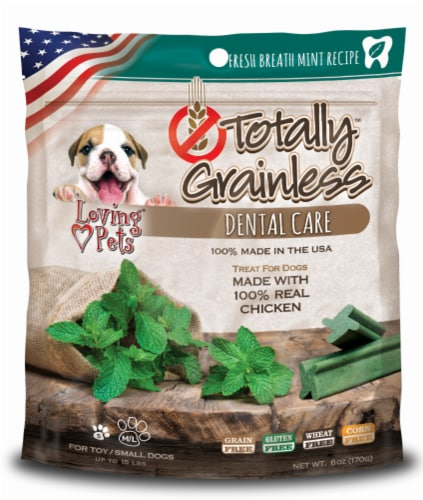 Loving Pets Totally Grainless Dental Care Fresh Breath Small to Large Chicken Dog Treats Perspective: front
