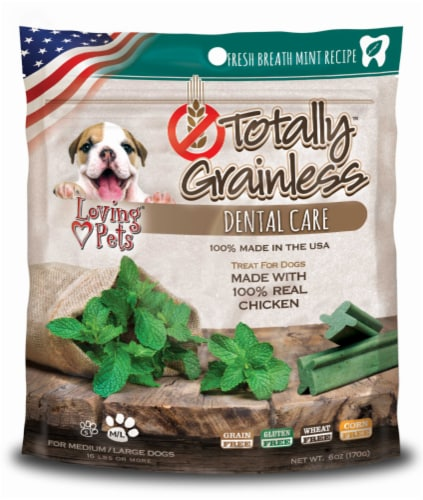 Loving Pets Totally Grainless Dental Care Fresh Mint Breath Med-Large Chicken Dog Treats Perspective: front