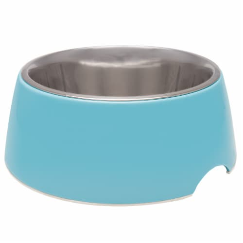Retro Bowl Small Pet Bowl - Electric Blue Perspective: front
