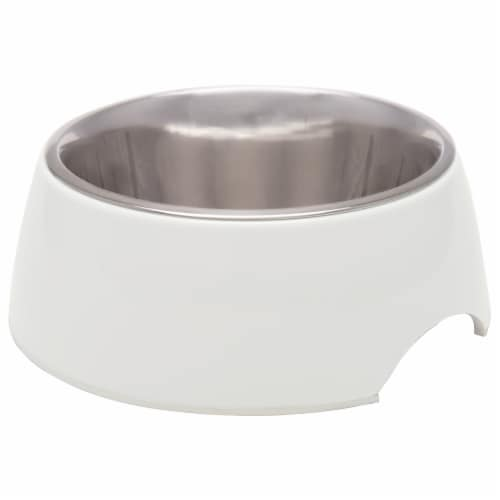 Retro Bowl Medium Pet Bowl - Ice White Perspective: front