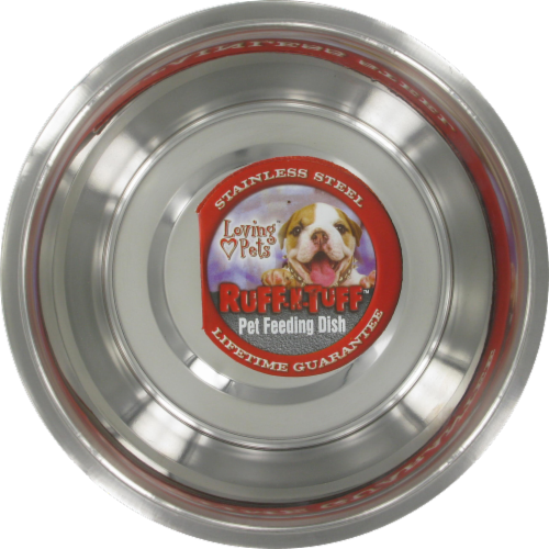 Loving Pets Ruff-N-Tuff Stainless Steel Pet Feeding Dish Perspective: front