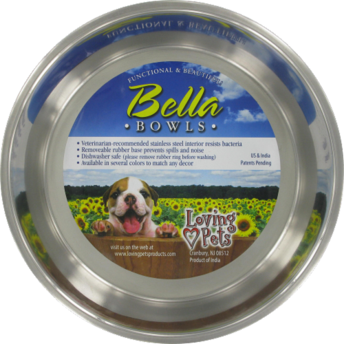Loving Pets Large Blueberry Colored Bella Bowl Perspective: front