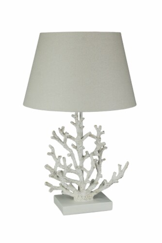 White and Gold Branch Coral Design Table Lamp With Matching Shade 21.5 Inches Tall Perspective: front