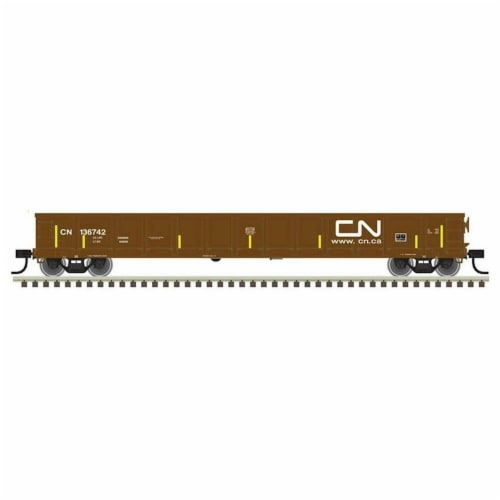 Atlas ATL50004688 N Evans Gondola CN No.136625 Model Train - Brown, White & Yellow Perspective: front