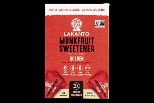 Lakanto Golden Monkfruit Sweetener Packets 30 Count Perspective: front