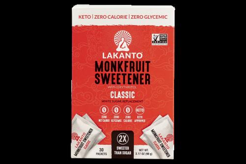 Lakanto Monkfruit Sweetener Packets 30 Count Perspective: front