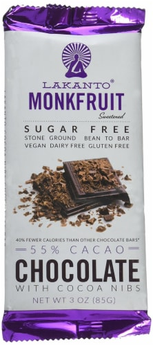 Sugar Free 55% Cacao Chocolate Bar with Cocoa Nibs Perspective: front