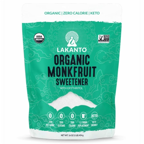 Lakanto Organic Monkfruit Sweetener - 1:1 White Sugar Substitute (1 lb) Perspective: front