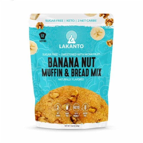Lakanto Sugar Free Banana Nut Muffin and Bread Mix - Sweetened with Monkfruit (12 Muffins) Perspective: front