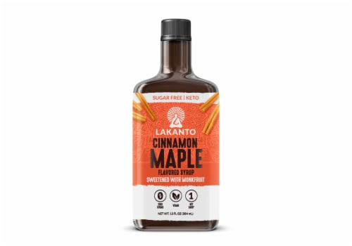Lakanto Sugar Free Cinnamon Maple Syrup - Sweetened with Monk Fruit (13 fl oz) Perspective: front