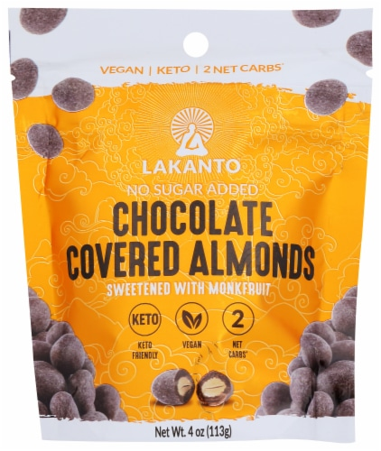 Lakanto Sugar Free Chocolate Covered Almonds - Sweetened with Monkfruit Sweetener (Pack of 2) Perspective: front