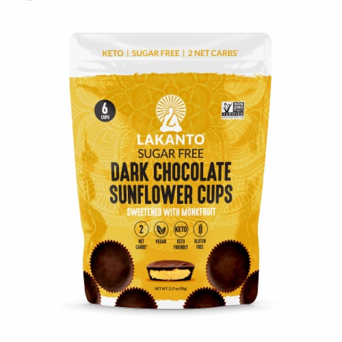 Lakanto Sugar Free Chocolate Sunflower Butter Cups - Sweetened with Monkfruit (Pack of 2) Perspective: front