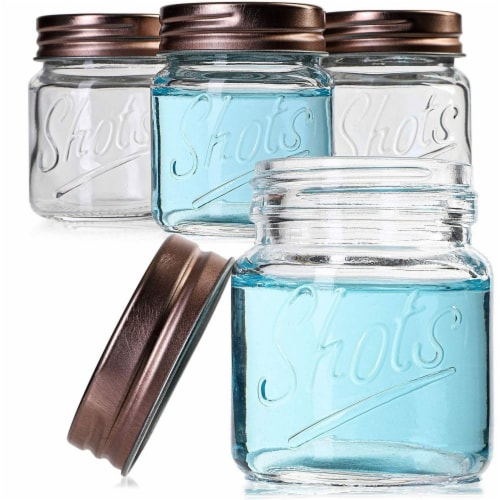 Mini Mason Jars Shot Glasses with Lids in Bulk Set (2 Ounce, 12-Pack) Perspective: front