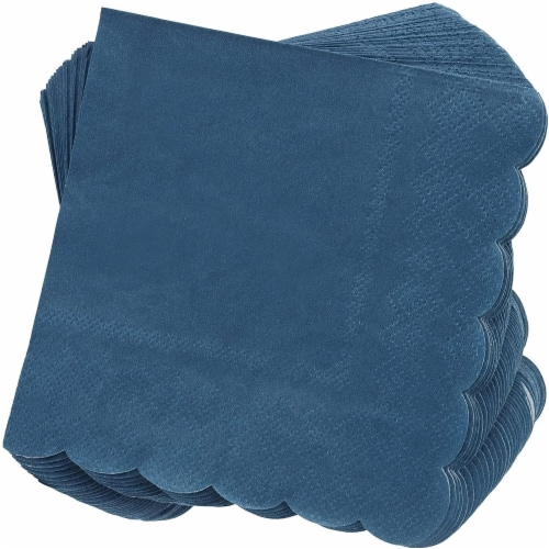 Scalloped Party Cocktail Napkins (5 x 5 In, Dark Blue, 100-Pack) Perspective: front