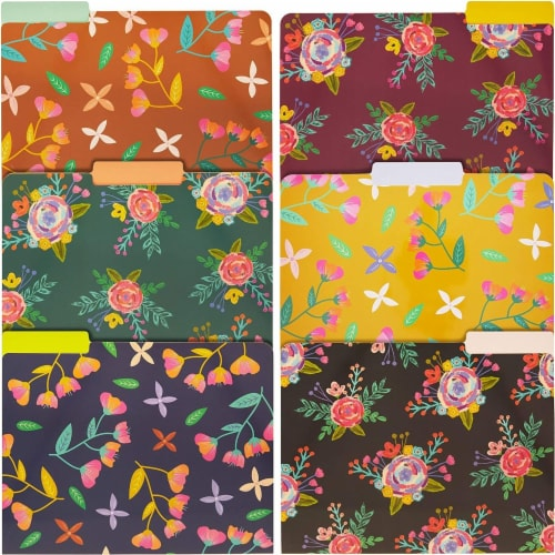 Decorative File Folders with 1/3 Cut Tabs, 6 Vintage Floral Designs (9.5 x 11.5 In, 12 Pack) Perspective: front