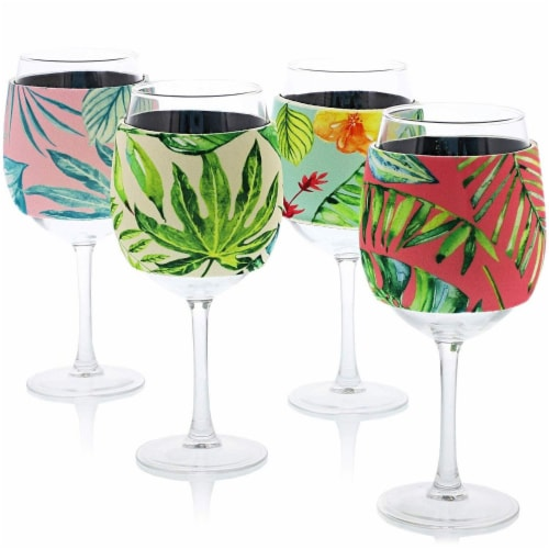 12x Neoprene Stylish Protective Wine Glass Beverage Sleeve Protector, 4 Designs Perspective: front