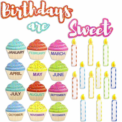 Juvale Classroom Cutouts - Birthday Cupcakes and Candles (63 Piece Set) Perspective: front