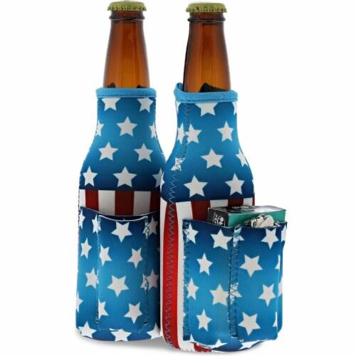 2x US American Flag Beer Bottle Cooler Sleeves with Cigarette+Lighter Holder Perspective: front