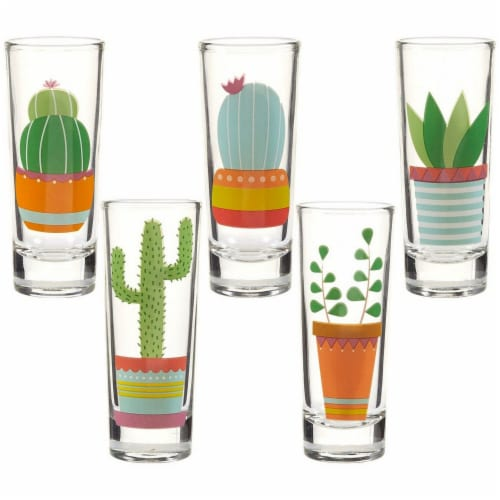 Cactus Party Shot Glasses for Cinco de Mayo Tequila Fiesta, Set of 5, 2 oz Each Perspective: front