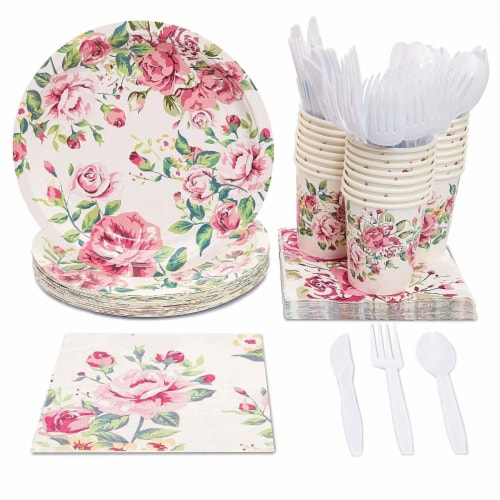 Floral Party Supplies, Paper Plates, Napkins, Cups and Plastic Cutlery (Serves 24,144 Pieces) Perspective: front