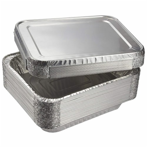 Aluminum Foil Pans 20-Piece Half-Size Deep Disposable Steam Table Pans with Lids Perspective: front