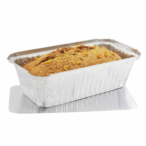 50 Pack Disposable Aluminum Foil Loaf Pans with Lid, 22 Ounce, 8.5 x 2.5 x 4.5 inches Perspective: front