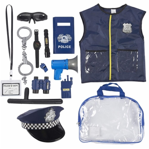 Police Uniform for Kids - 14-Piece Police Officer Costume Role Play Kit Perspective: front