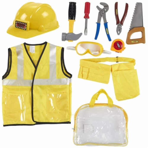Kids Role Play Costume Set - 10-Piece Construction Worker Costume for Kids Perspective: front