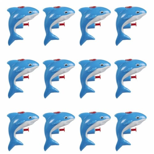 12 Pack Mini Plastic Shark Animal Squirt Guns for Kids Summer Pool Party, Ages 6 and Up Perspective: front