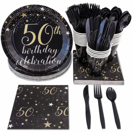 50th Birthday Party Dinnerware Bundle, Serves 24 Guests (144 Pieces) Perspective: front