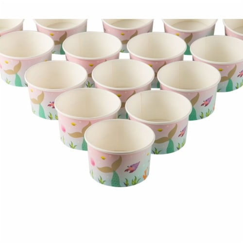 Ice Cream Sundae Cups - 50-Piece Disposable Paper Dessert Ice Cream Yogurt Bowls Perspective: front