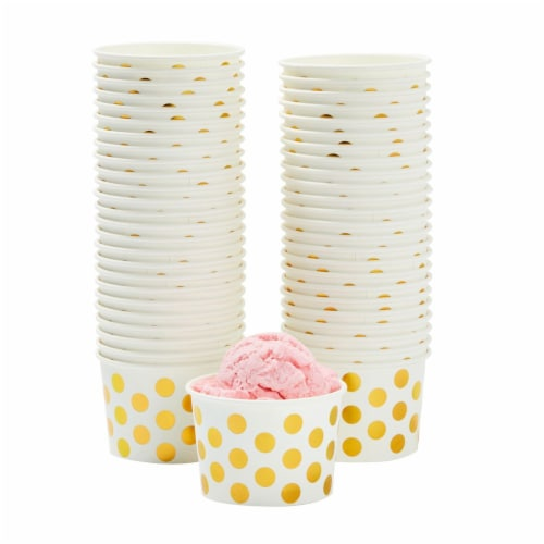 50-Count Paper Ice Cream Cups Yogurt Dessert Gold Polka Dot Party Bowls 8-Oz Perspective: front