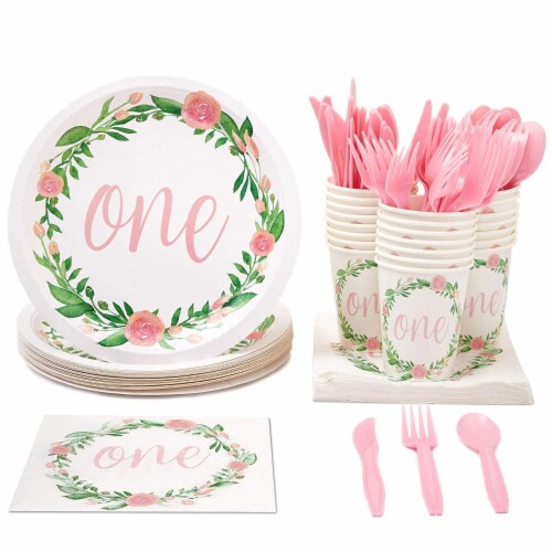1st Birthday Party Dinnerware, with Plates, Napkins, Cups and Cutlery (Serves 24, 144 Pieces) Perspective: front