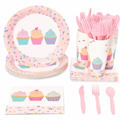 Cupcake Party Supplies, Paper Plates, Napkins, Cups and Cutlery (Serves 24, 144 Pieces) Perspective: front