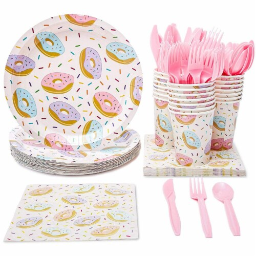 Serves 24 Donut Party Supply Knives, Spoons, Forks, Paper Plates, Napkins, Cups Perspective: front