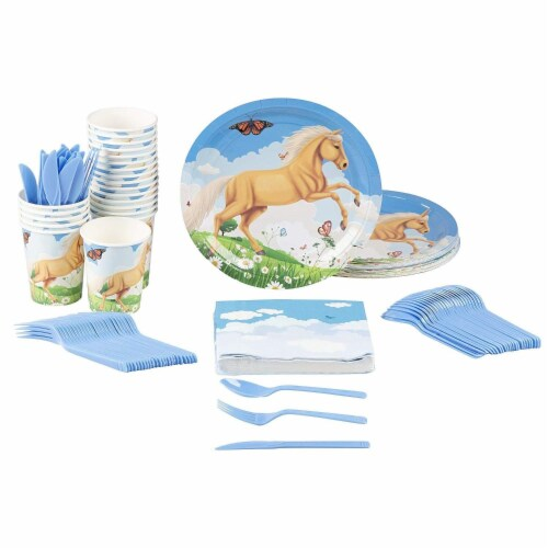 Horse Party Supplies, Paper Plates, Napkins, Cups and Plastic Cutlery (Serves 24, 144 Pieces) Perspective: front