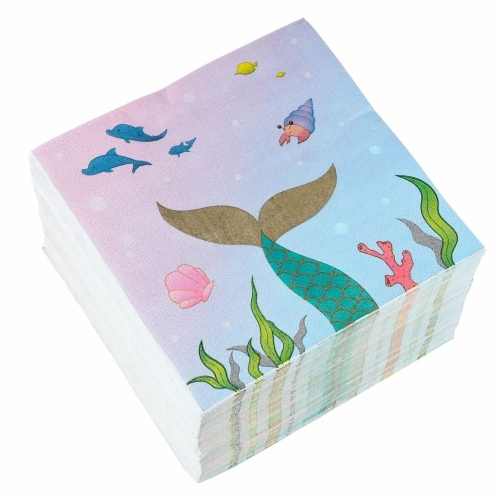 Mermaid Party Supplies, Luncheon Napkins (6.5 x 6.5 In, 150-Pack) Perspective: front