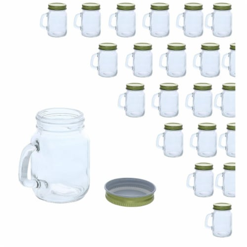 48x Mini Clear Mason Jars Set with Gold Lids for Spices Honey Jam Baby Food, 4oz Perspective: front