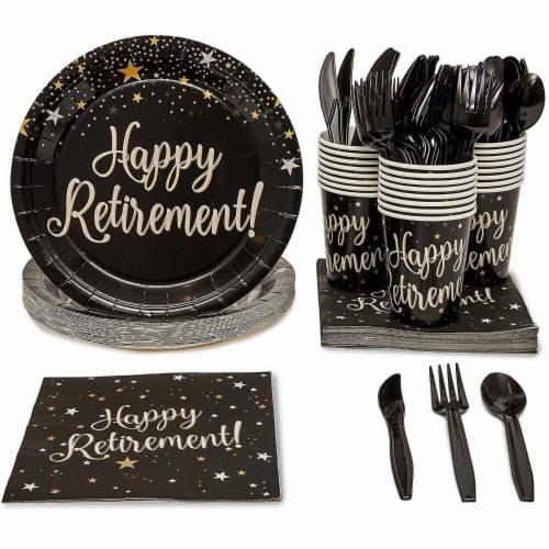 Retirement Party Bundle, Includes Plates, Napkins, Cups, and Cutlery (24 Guests,144 Pieces) Perspective: front