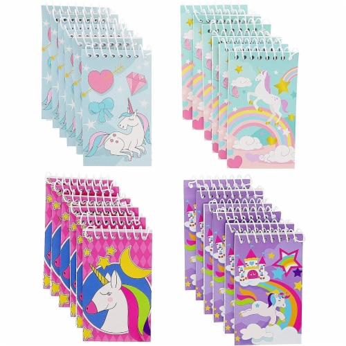 Mini Spiral Notepads, Unicorn Design (3 x 5 Inches, 24-Pack) Perspective: front