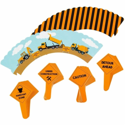 100-Piece Construction Zone Cupcake Toppers and Liners for Kids Birthday Party Supplies Perspective: front