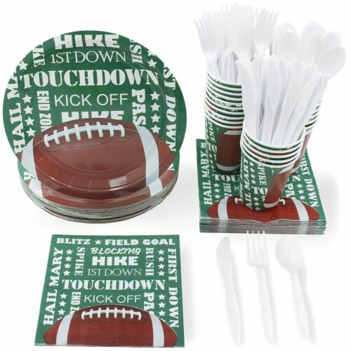 Football Party Bundle Includes Plates, Napkins, Cups, and Cutlery (Serves 24, 144 Pieces) Perspective: front