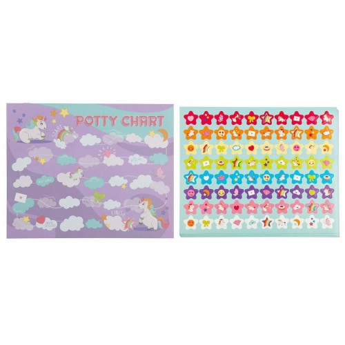 Blue Panda Potty Cute Colorful Unicorn Potty Training Reward Chart With Sticker Perspective: front