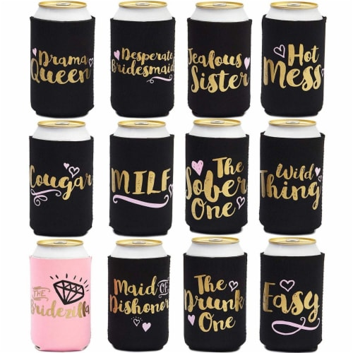 Bachelorette Can Sleeves for Cold Drinks, Party Favors (12 Designs, 12 Pack) Perspective: front