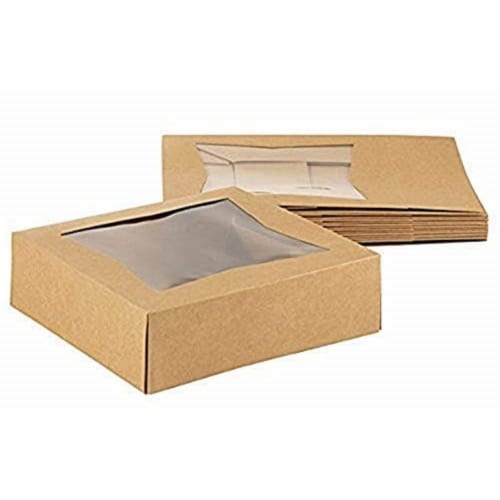 "10 Brown Kraft Paperboard Pop-Up Window Box, Pastry  Cake Bakery, 8""x8""x2.5"" Perspective: front"