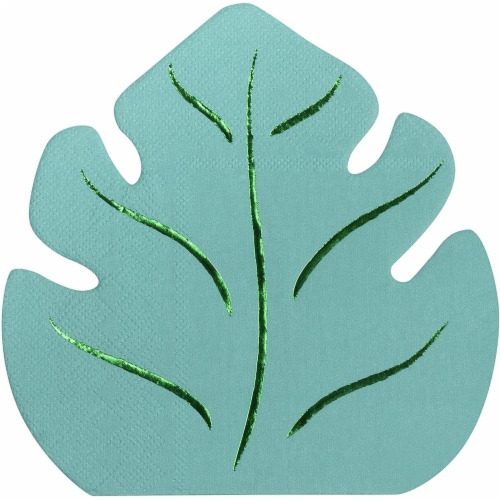 Green Leaf Shape Paper Napkins for Hawaiian Luau Party (6.4 x 6.2 In, 50 Pack) Perspective: front